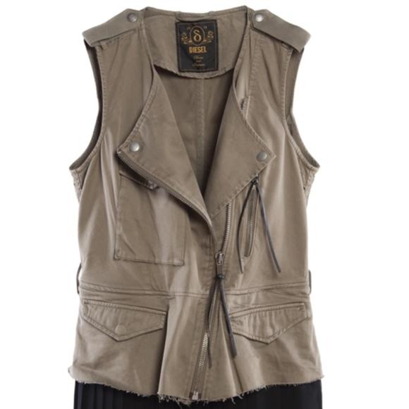 Diesel Dresses & Skirts - DIESEL military pleated 2 piece dress vest $398